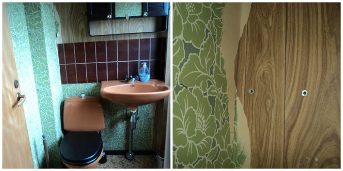 Meu banheiro anos 70! E a diferença entre o papel de parede atual e antigo...