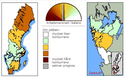 No gráfico, as áreas mais claras representam a menor concorrência, e as áreas escuras, maior. Göteborg se localiza dentro da área laranja no segundo gráfico.