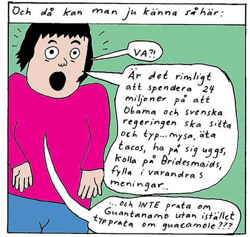 Charge de Liv Strömquist publicada no Aftonbladet