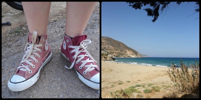 Meu All Star cheio de pó e a praia de Stavros
